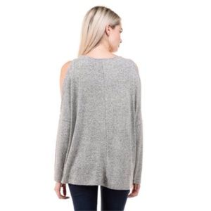 Sweaters - Heather Gray Cold Shoulder Knit Sweater